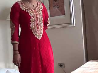 Indian Wife Kajol In Red Shalwar Suit