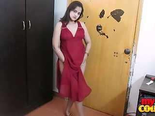Sonia Bhabhi Red Lingerie Stripping Naked