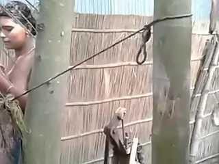 Next Door Village Girl Taking Outdoor Shower